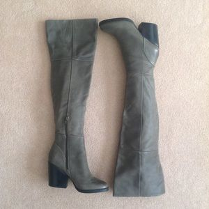 Aldo Over the Knee Leather Boots in Olive Green